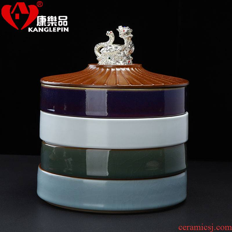 Recreational goods with silver tea box ceramic tea pot multilayer tea cake large wake POTS home tea storage warehouse
