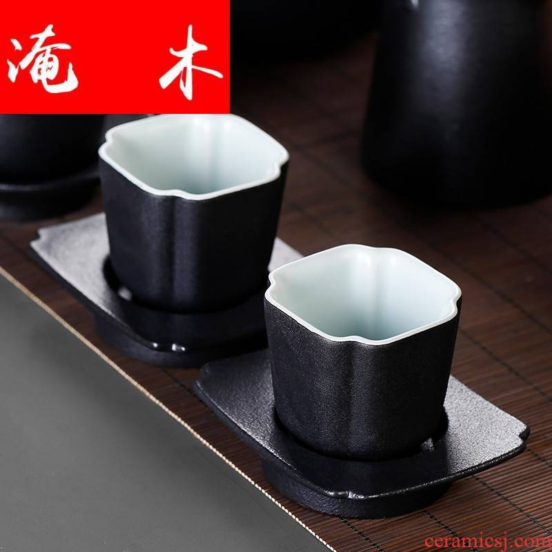 Submerged wood dehua coarse pottery cup mat single ceramic tea cup move cup sample tea cup household combination kung fu master