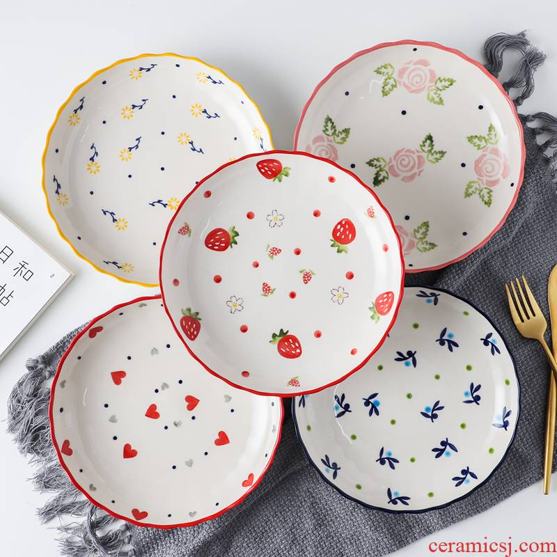 Lovely strawberry ceramic plate breakfast steak plate plate web celebrity love nice food dish creative household tableware