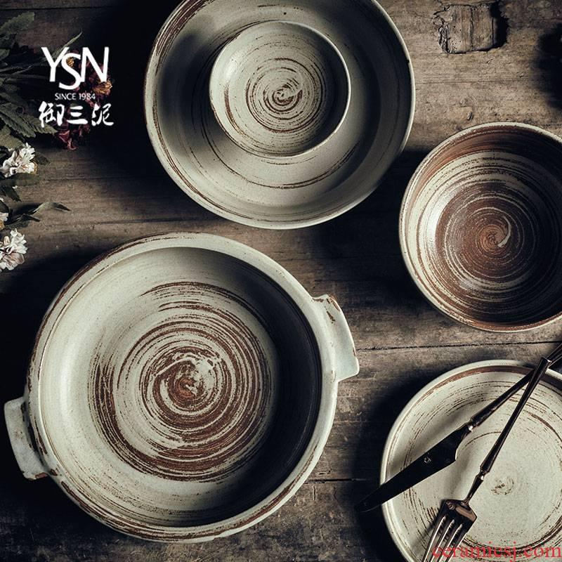 Royal three retro coarse pottery mud flat plate of Japanese steak coarse ceramic tableware ceramics art wind hat to bowl of ears of plates