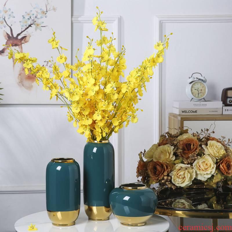 The New Chinese jingdezhen ceramic plating ius vase furnishing articles hotel club corner desktop household soft adornment