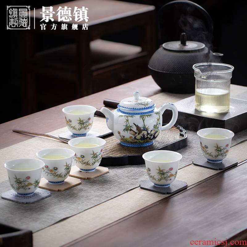 Jingdezhen ceramic kung fu tea set four official flagship store JRT spring tea tea set household combination