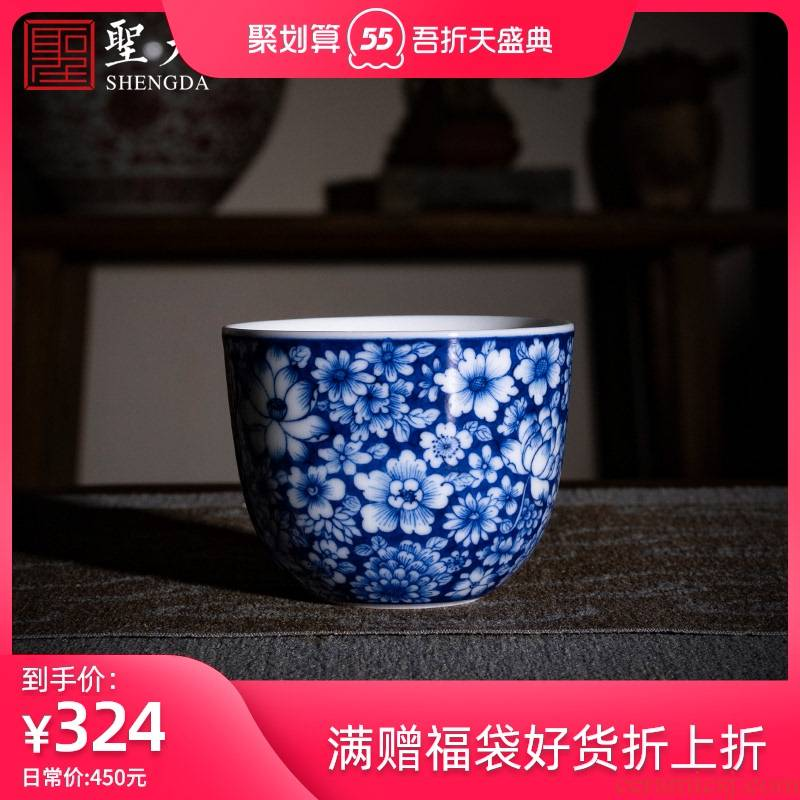 St the ceramic masters cup pure manual hand - made of blue and white flower tea in delight lie fa cup sample tea cup kung fu tea cups
