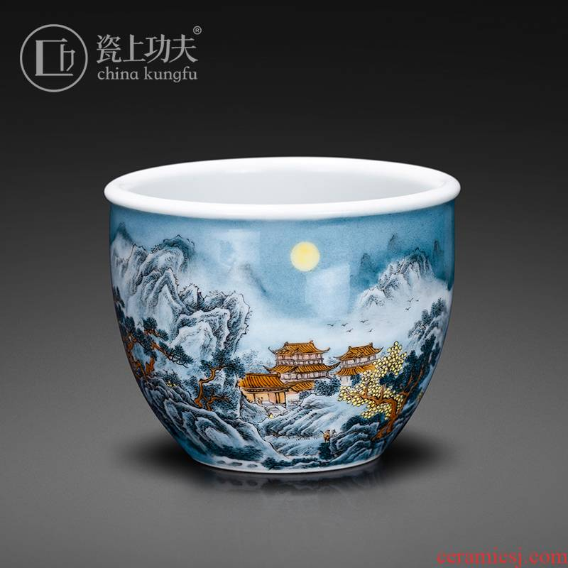 Jingdezhen porcelain pure manual hand - made master cup on a castle in the kung fu color ink sample tea cup ceramic kung fu tea cup