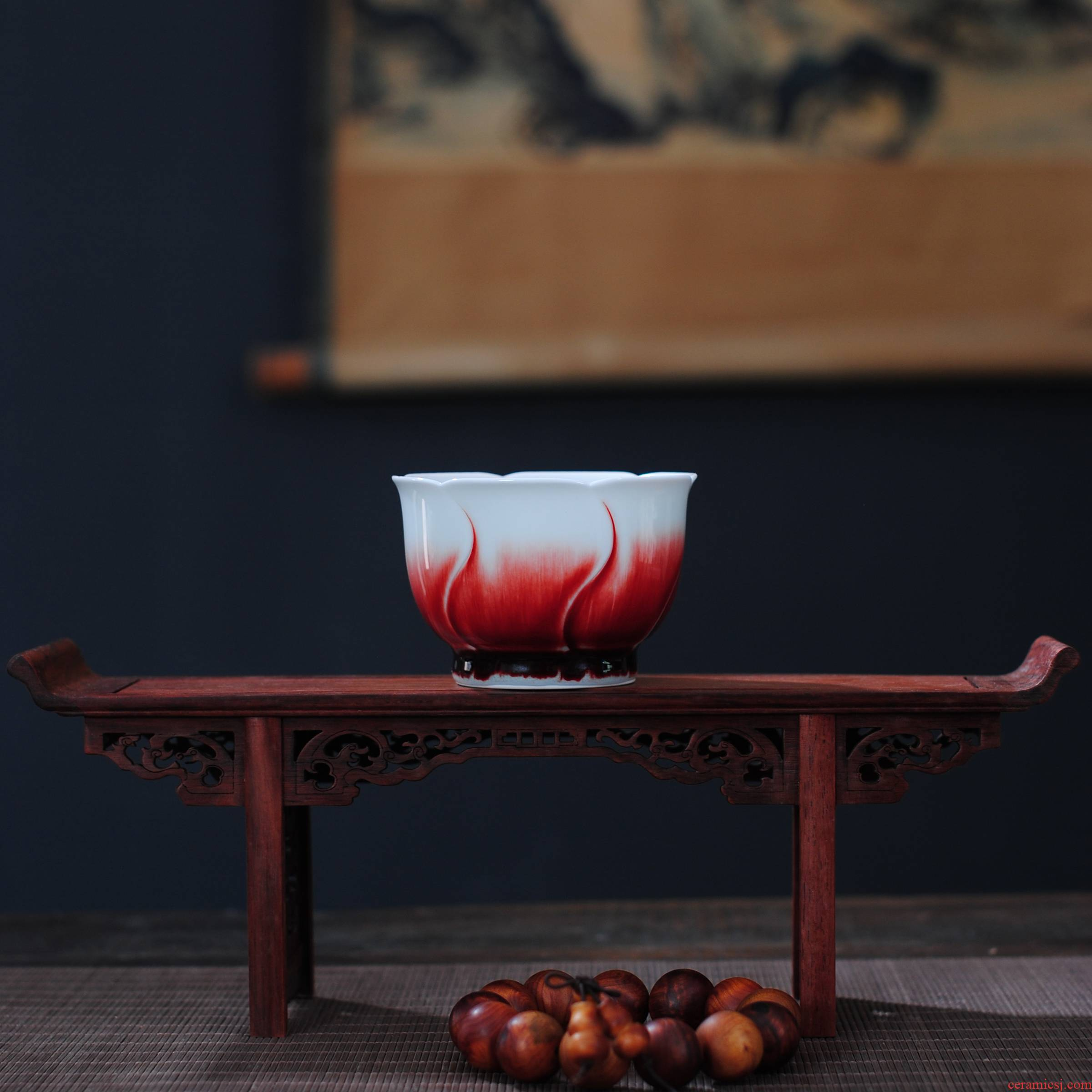 【 5.3 】 jingdezhen pure manual hand - made up LangHongKui masters cup