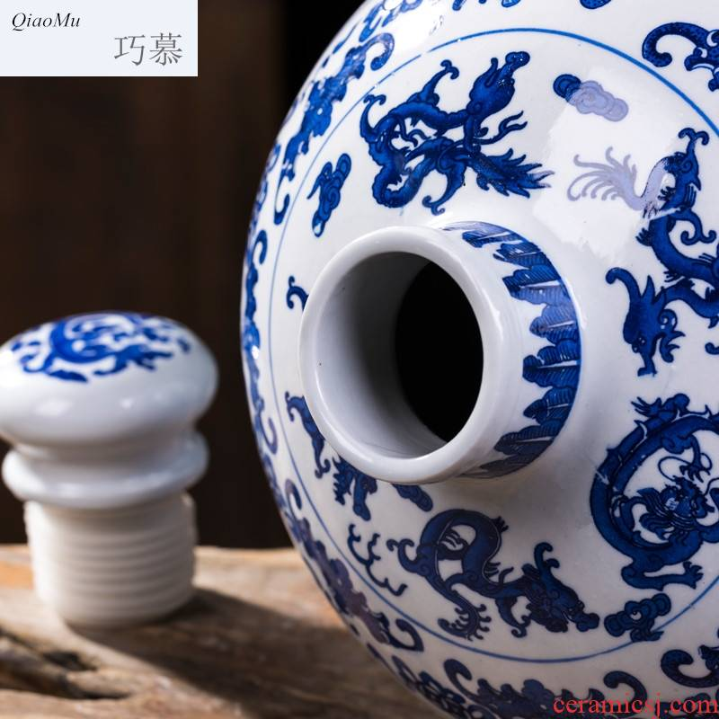 Qiao mu of jingdezhen blue and white porcelain jars ceramic terms bottle 10 jins to an empty bottle seal storage jar of wine