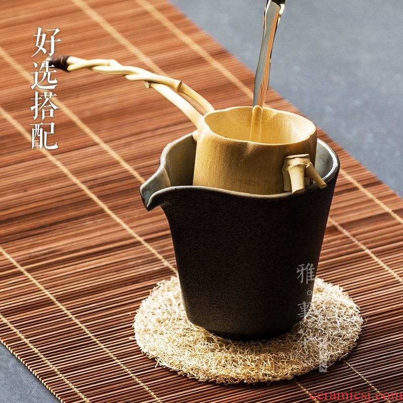 Qiao mu YWT thickening heat - resistant ceramic fair keller of black hand and cup small coarse pottery Japanese tea ware kung fu