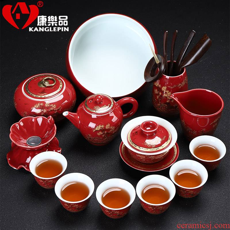 Recreational product kung fu tea set household Jin Liu silver lid to use ceramic cups office gift box custom package