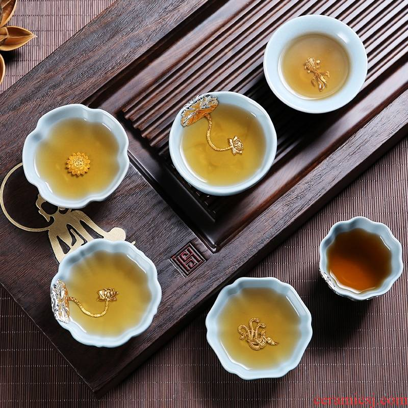 Qiao mu kung fu tea set single cup sample tea cup ceramic cups recover your up on household checking silver inlaid with silver