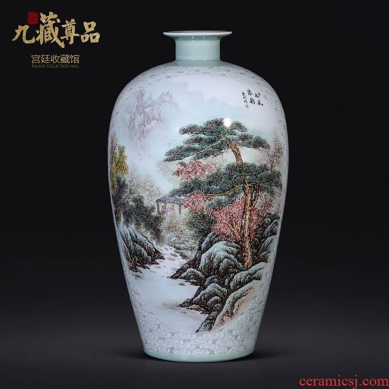 Jingdezhen ceramic new Chinese style pastel landscape carving vase dong - Ming li hand - made the sitting room porch TV ark, furnishing articles