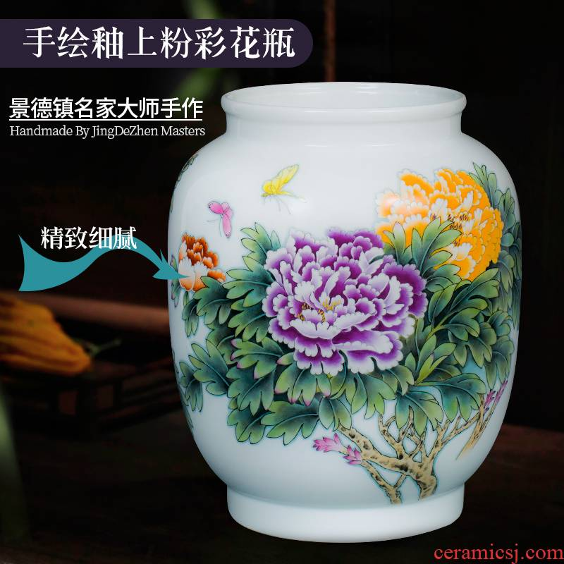 Jingdezhen ceramic vase penjing masters hand draw large Chinese lucky bamboo flower arranging rich ancient frame sitting room adornment
