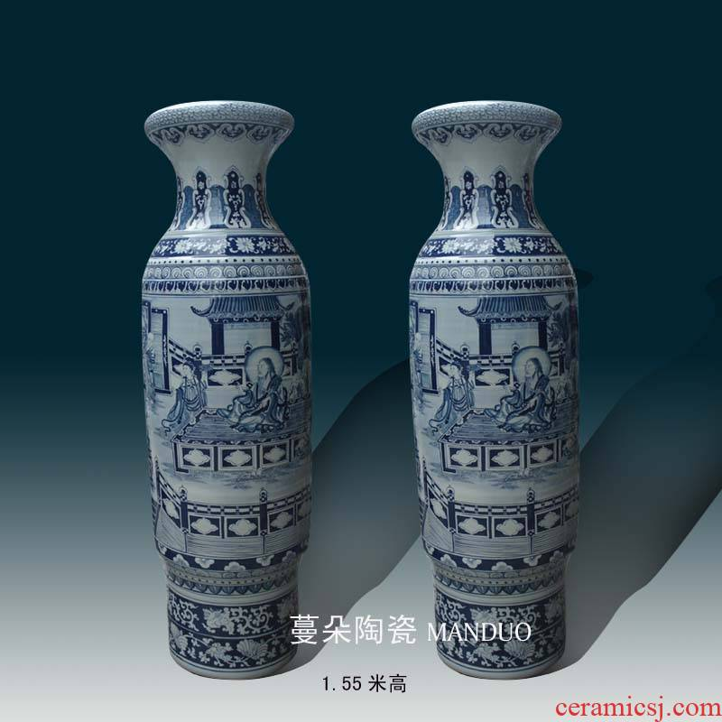 Jingdezhen hand - made fairy arhat figures 1.5 1.8 m landing big vase temple medallion display vase