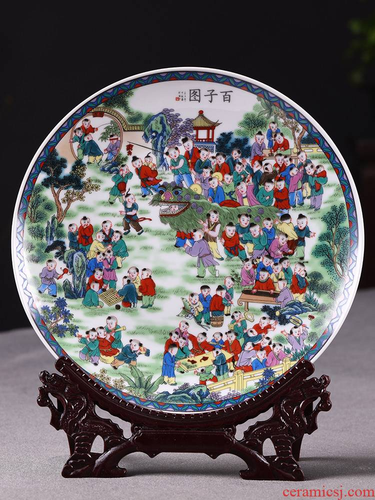 Jingdezhen ceramics, the ancient philosophers figure hanging dish Chinese style household, sitting room porch TV ark, rich ancient frame decorative plate is placed