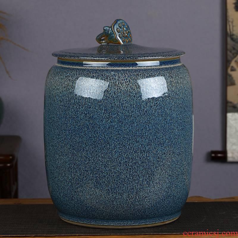 Jingdezhen ceramic barrel with cover tank 20 jins 30 jins home ricer box sealed bucket tea water storage tank meter box