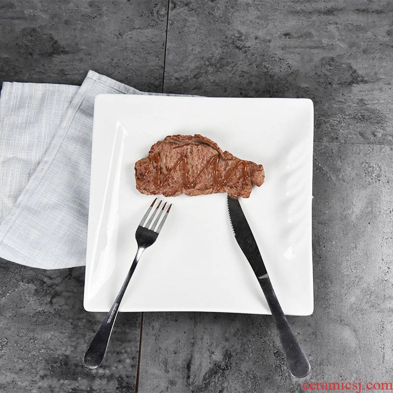 Dish pure western food steak household food Dish square plate flat ceramic plate snack plates western - style tableware
