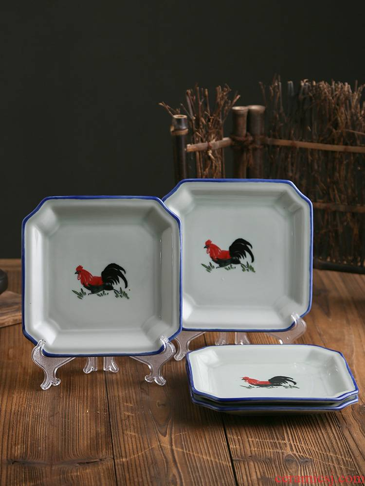 Household 0 dishes suit the nostalgic ceramic rooster retro move of blue and white porcelain square plate deep dish restaurants