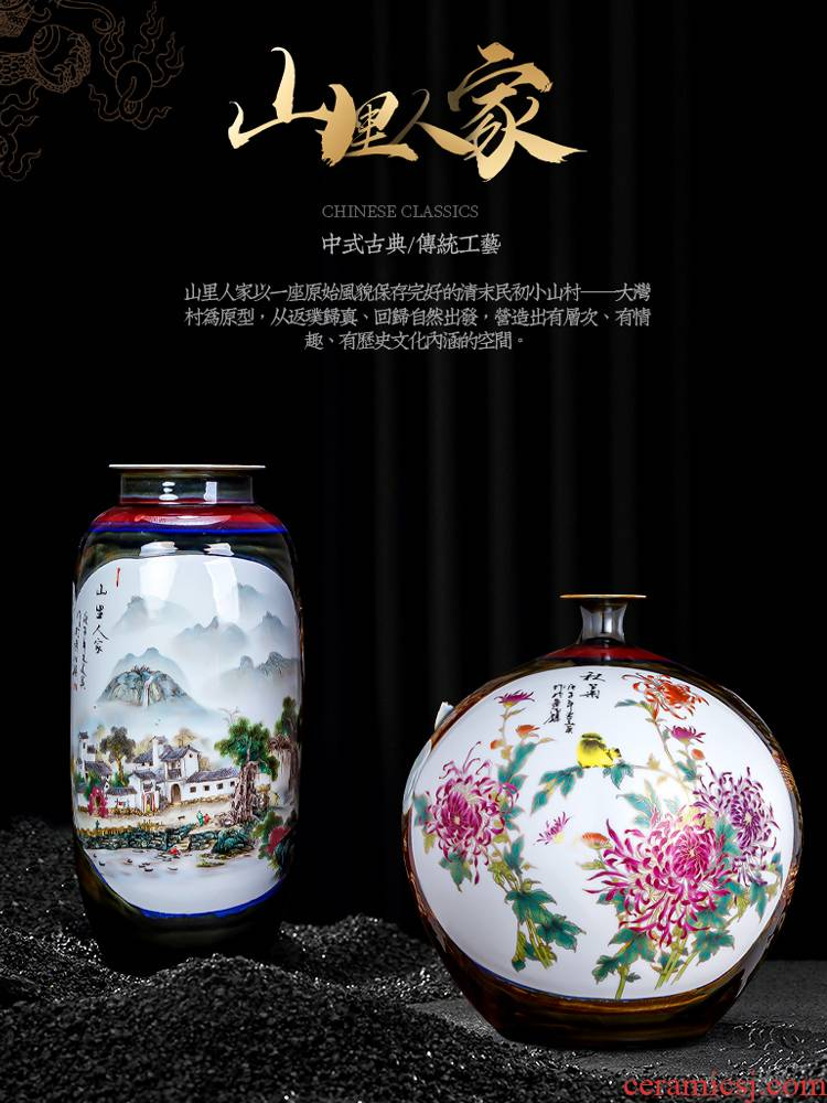 Jingdezhen ceramic vase furnishing articles household act the role ofing is tasted wine rich ancient frame of Chinese style restoring ancient ways large famous hand - made the sitting room