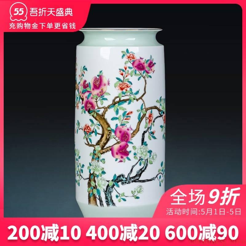 Jingdezhen ceramics powder enamel vase f tube lucky bamboo straight flower arrangement sitting room adornment of Chinese style household furnishing articles