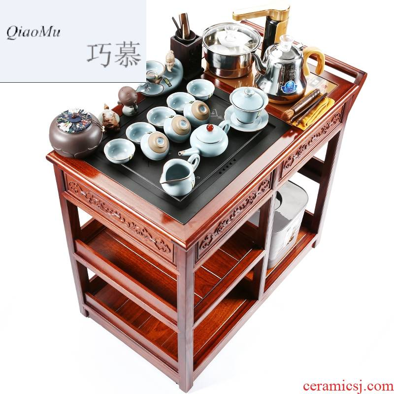 Qiao mu hua limu sharply stone mobile car of a complete set of violet arenaceous kung fu tea tea set induction cooker home safely