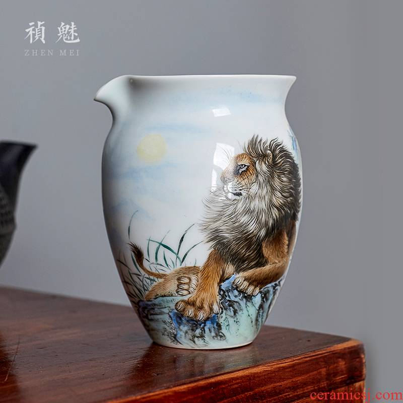 Fair shot incarnate the hand - made lion cup size of jingdezhen ceramic kung fu tea set with parts tea sea device and a cup of tea