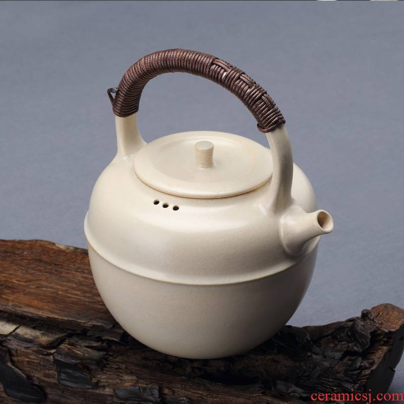 Qiao mu jingdezhen TaoMingTang plant ash glazed pottery pot of boiled tea creative large girder pot kettle white clay