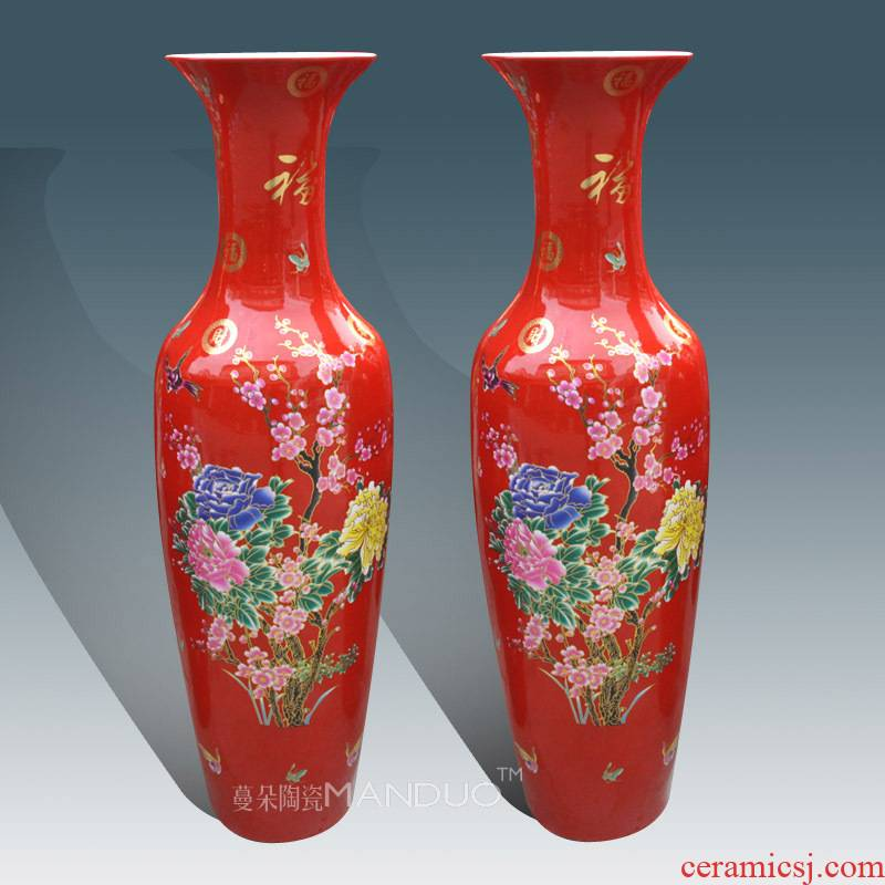 Jingdezhen red festival of large vase high - end furnishing articles company opening taking culture gift sitting room