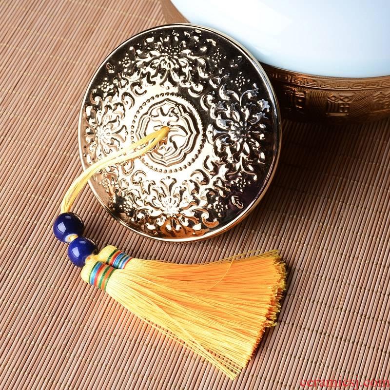 Qiao mu caddy fixings ceramic seal storage wake tea pot large quality of high - grade maojian tea longjing tea packaging