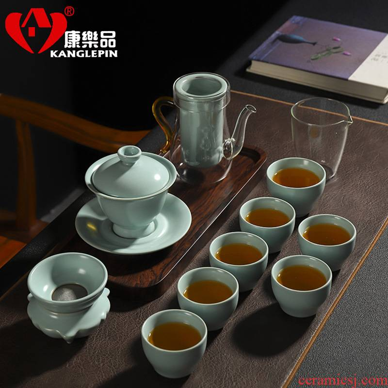 Recreation is tasted your up tureen kung fu tea set piece of azure bowl to leave but a ceramic household gift teapot teacup