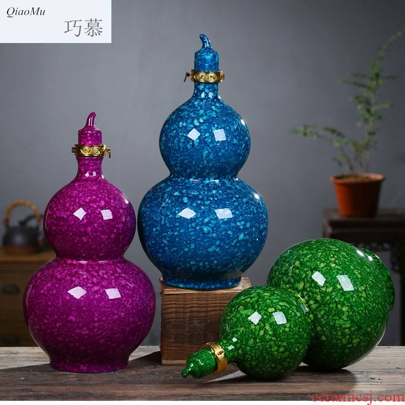 Qiao mu 1 catty 2 jins 5 jins of 10 jins to jingdezhen ceramic wine gourd bottle wine jar sealed jar of empty bottles