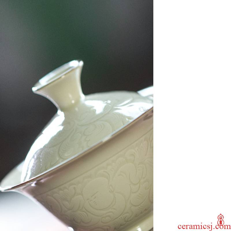 Jingdezhen up lying foot tureen series tureen kung fu tea set three cups to tureen bowl with cover
