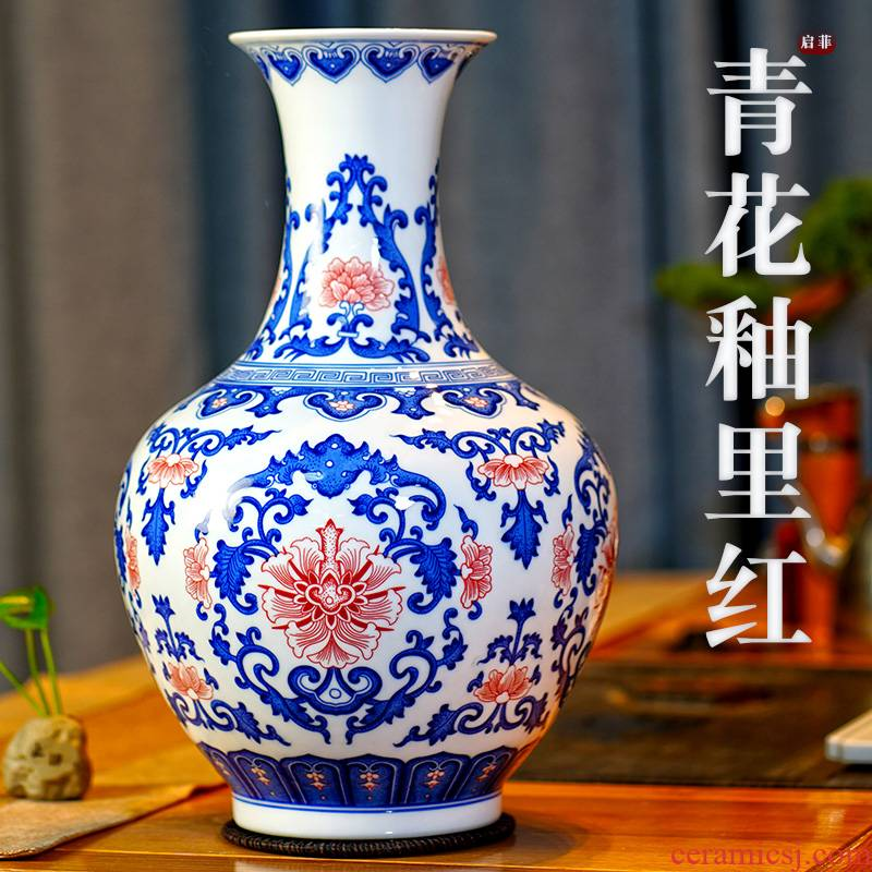 Jingdezhen ceramic blue and white flower vase youligong mesa furnishing articles home sitting room porch rich ancient frame adornment