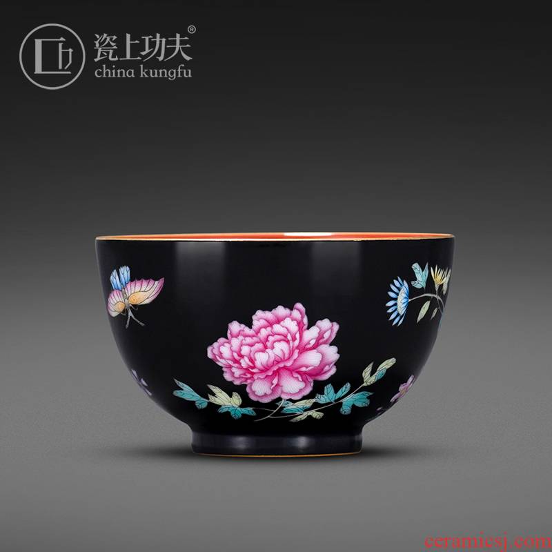 Hand - made colored enamel porcelain on kung fu master black peony sample tea cup cup of jingdezhen ceramic kung fu tea cup
