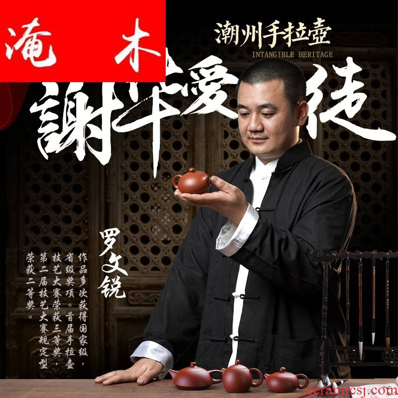 Flooded the wooden hand pot of chaozhou bian xi shi Luo Wenrui 】 【 famous master authentic all pure hand zhu mud are it