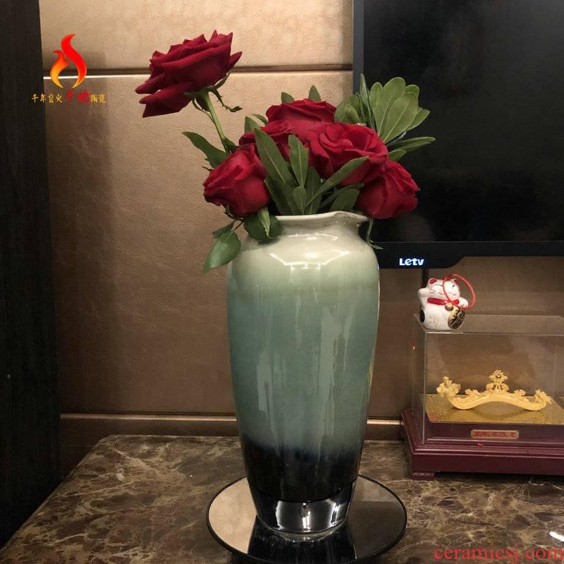 Jingdezhen ceramics floret bottle furnishing articles lucky bamboo adornment contracted sitting room of emerald green, flower, flower arrangement, fleshy
