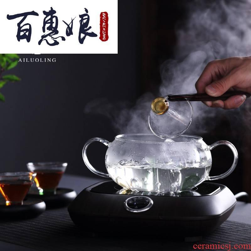 (niang tea accessories electric TaoLu boil disinfection cups tea wash pot heating glass flat glass wash basin bowl