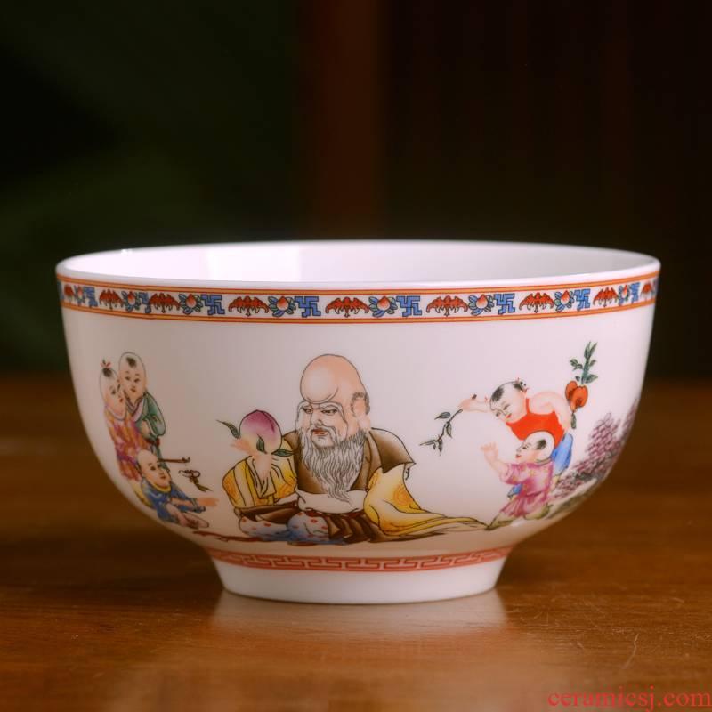Jingdezhen ceramics life of birthday gift back to tableware bowl bowl do custom birthday longevity rainbow such use household jobs