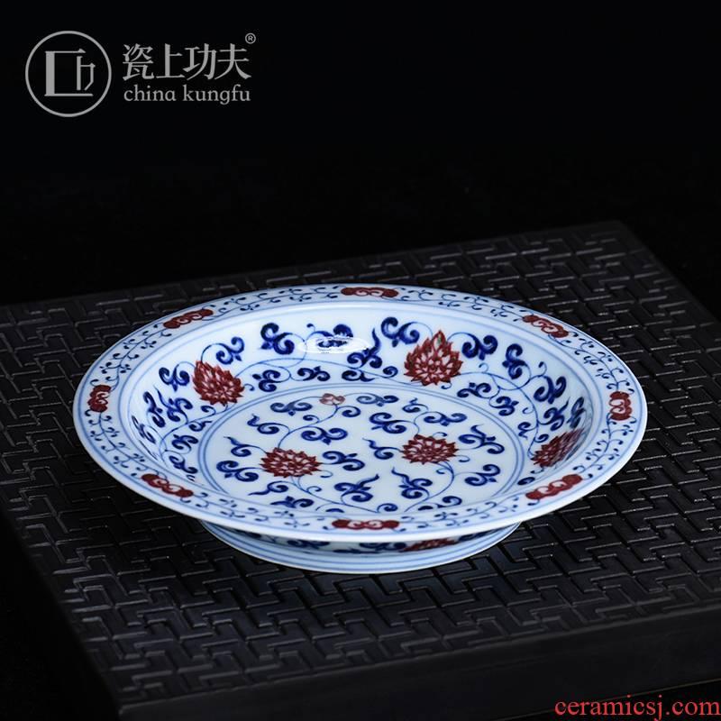 Porcelain on kung fu manual hand - made youligong pot bearing jingdezhen ceramic tea set high - end tea tray compote saucer