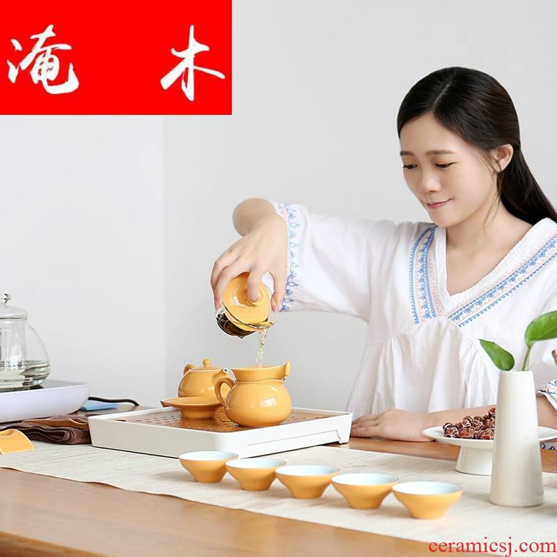 Submerged wood upscale gift kung fu tea set of a complete set of household teapot teacup ceramic tureen tea to ultimately responds