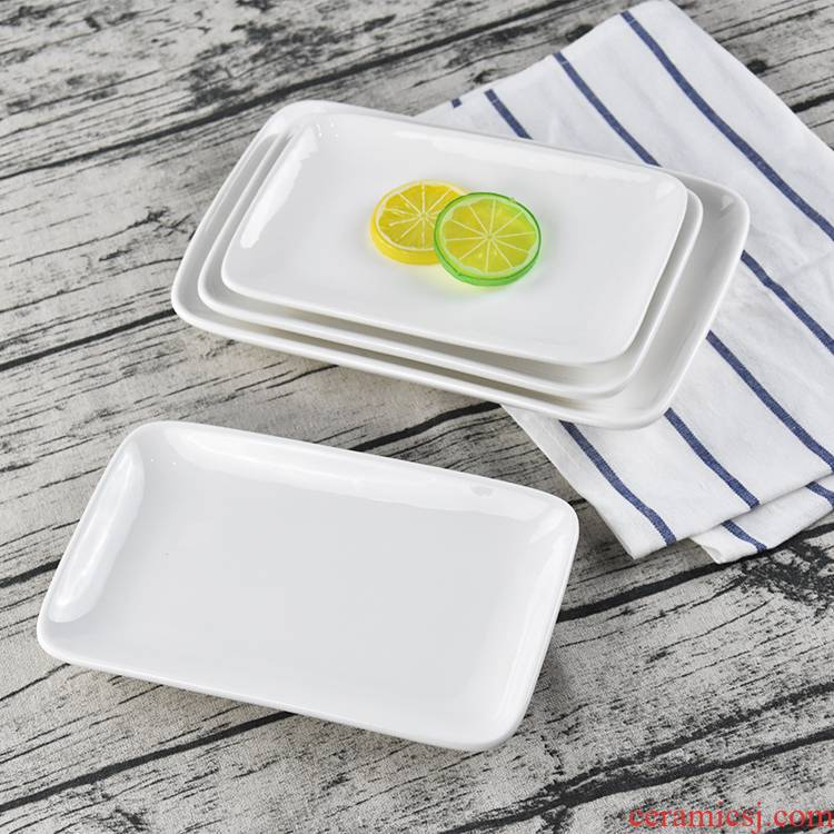 White ceramic plate rectangular dish plate steamed vermicelli roll plate hotel western - style food dish creative sushi plate oblong