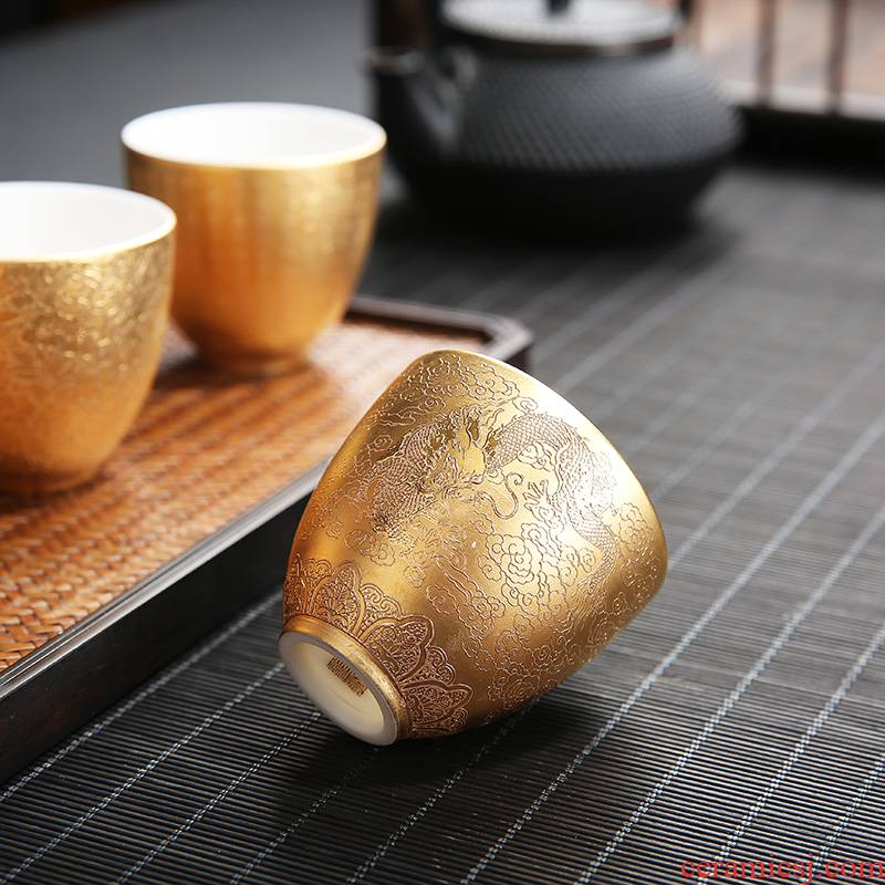 Recreation character turn white porcelain small retro heart sutra cup tea set mini ceramic cups master cup single sample tea cup