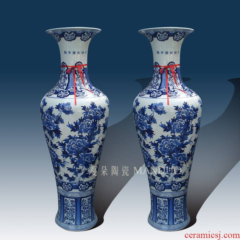 Fine ceramics jingdezhen blue and white peony hand - made vases of large vase vase from the opened hotel furnishing articles