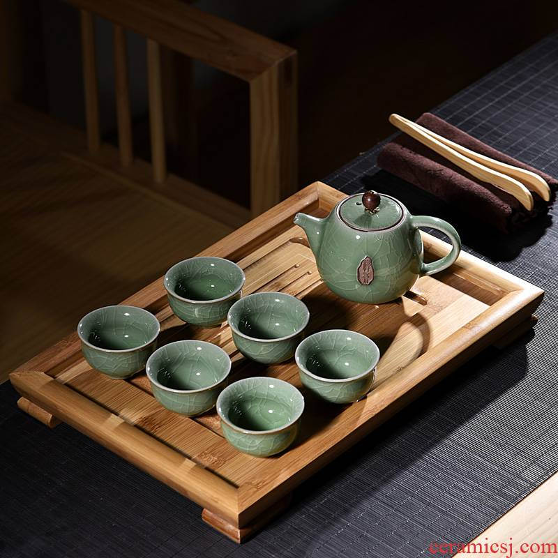 Hui shi purple ceramic kung fu tea set suit household contracted small office solid wood tea tray cups single layer type tea table