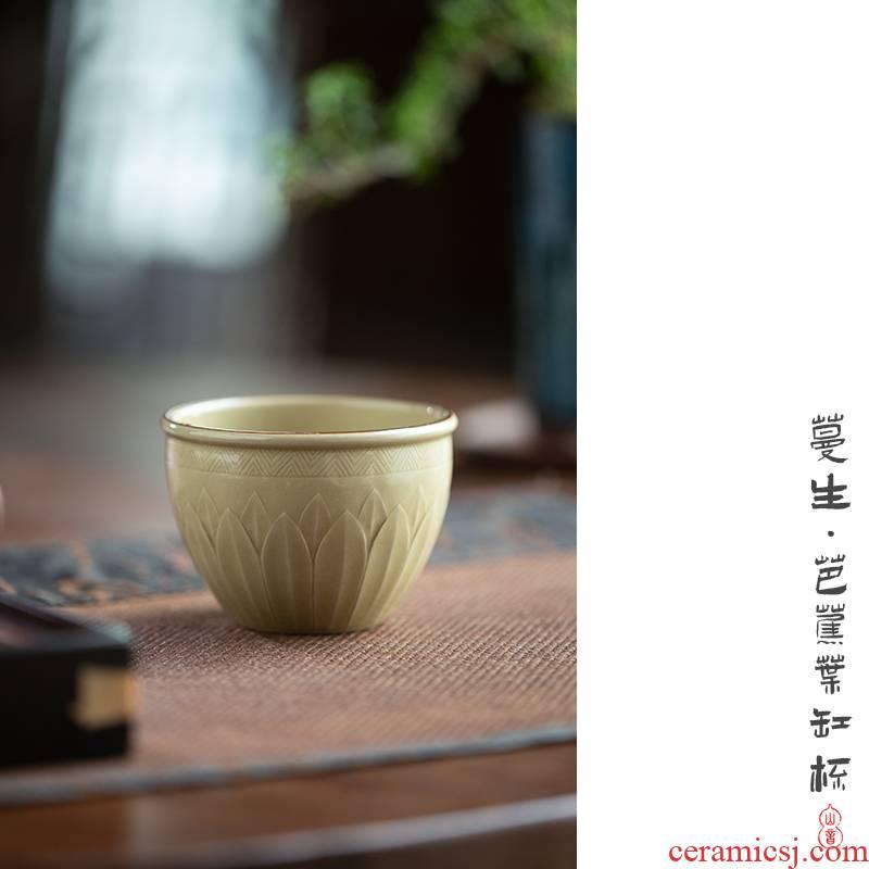 Jingdezhen up cylinder cup pure manual master cup single cup top ceramic cups kung fu tea sample tea cup