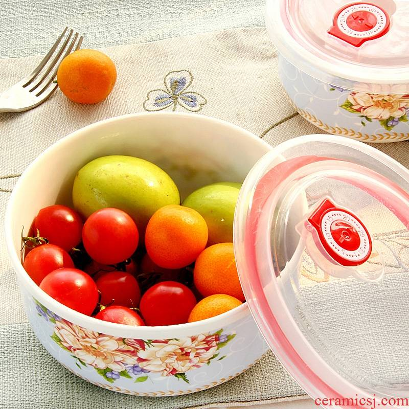 Qiao mu preservation bowl three - piece microwave bowl with cover ipads porcelain ceramic bento rainbow such as bowl bowl with cover your job suits for