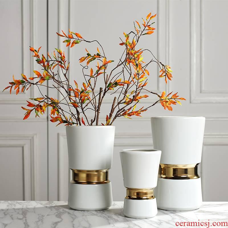 Light key-2 luxury ceramic vase northern wind ins modern white sitting room web celebrity big caliber dry flower arranging flowers decorative furnishing articles
