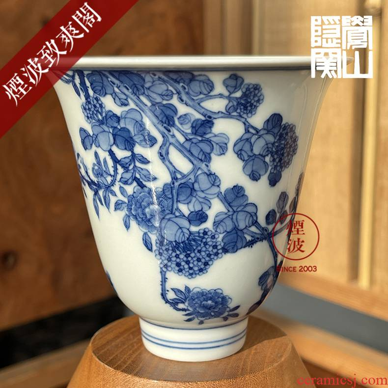 Those hidden up jingdezhen sleep mountain movement of the six kind of blue and white condensation figure kangxi bell cup sweet butterfly dance