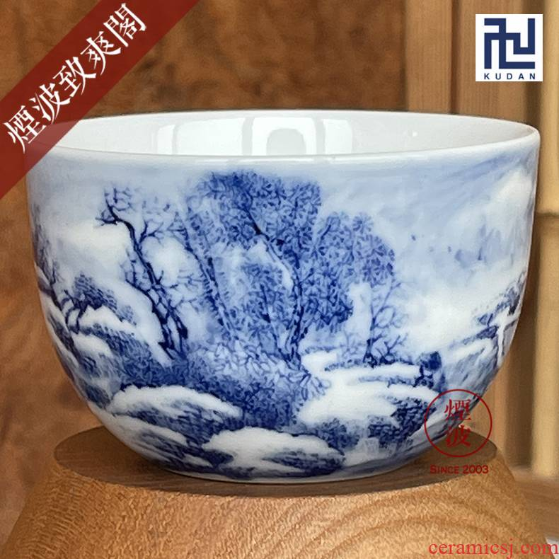 Jingdezhen blue and white snow scenery nine calcinations hand - made porcelain wonderful hand cups chicken cylinder cup