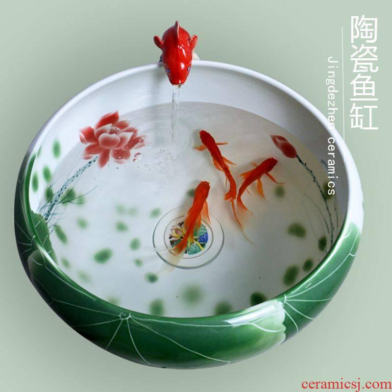 Jingdezhen ceramic aquarium fish bowl sitting room large heavy bottom water filter lotus goldfish bowl round tortoise