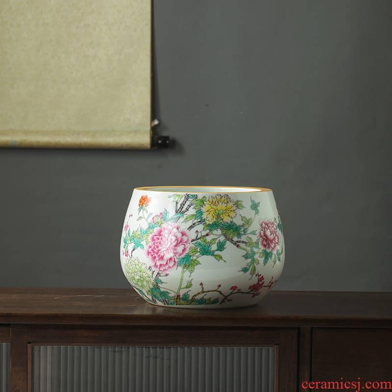 Jingdezhen ceramic famille rose porcelain basin creative home desktop cylinder accessories to the sitting room porch ceramic flower pot furnishing articles