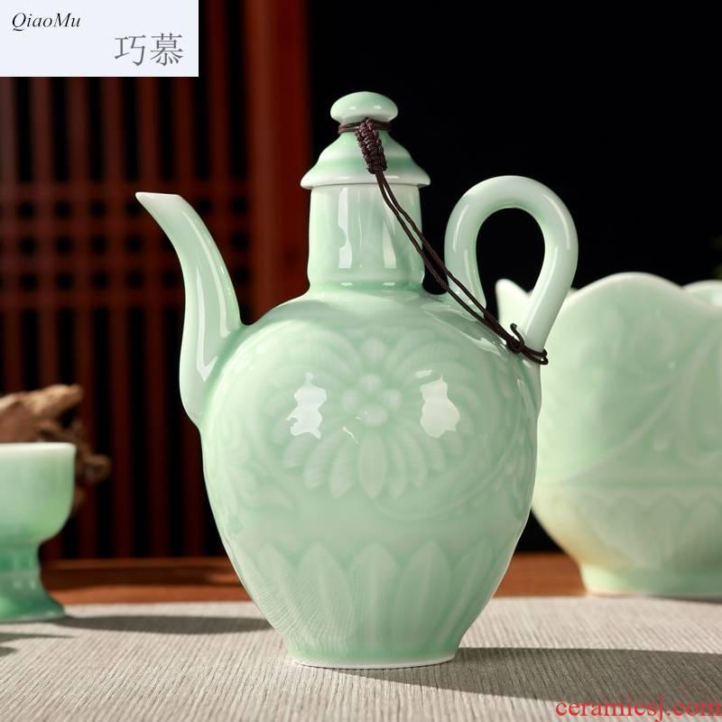 Qiao mu jingdezhen ceramic wine warm temperature wine pot liquor celadon 12 woolly heat gift box wine with rice wine, the wine bottle